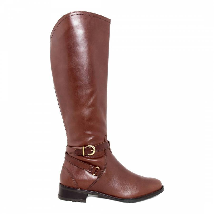brown high shine leather buckle knee boots brandalley