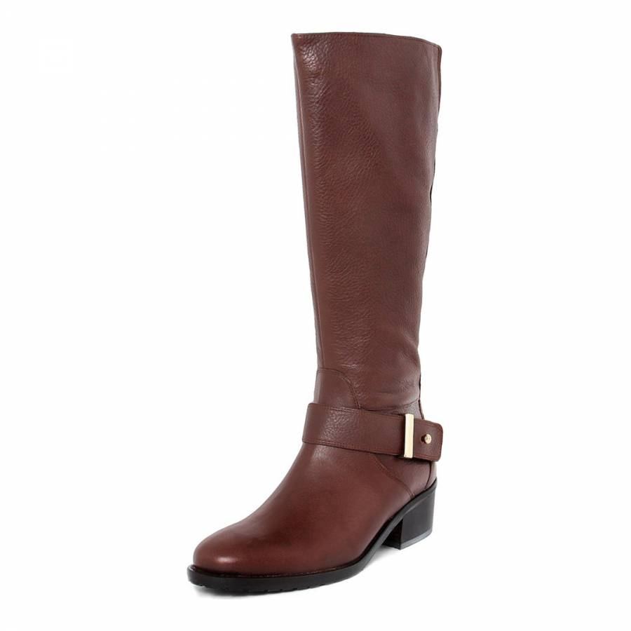 brown leather buckle knee boots brandalley