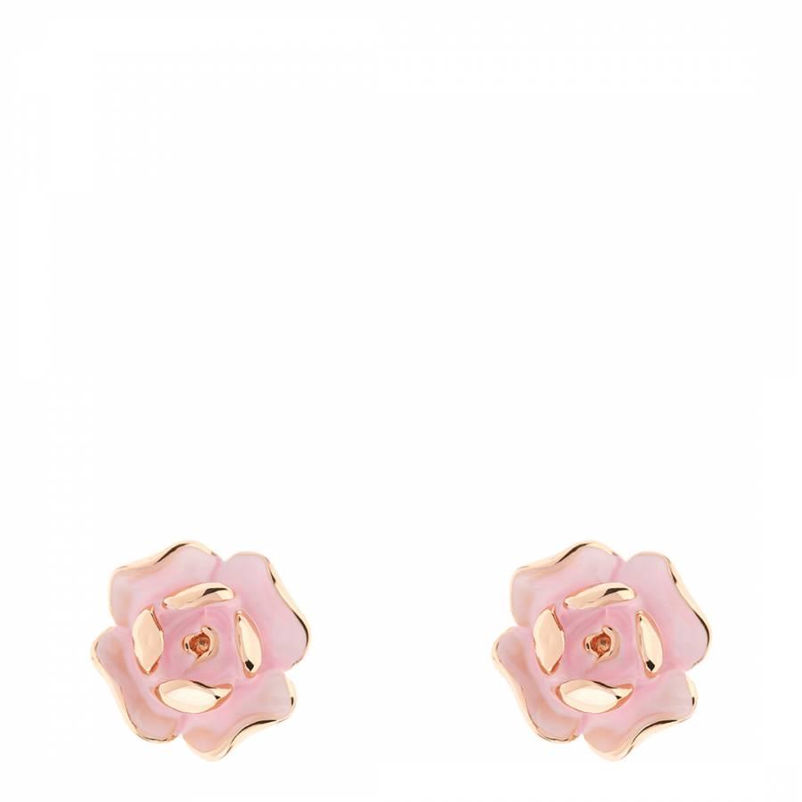 Baby Pink Rose Gold Esmea Enamel Rose Stud Earrings