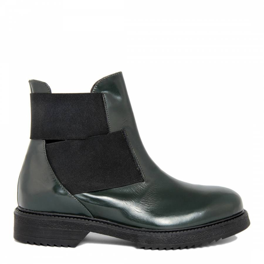 green leather ankle boots brandalley