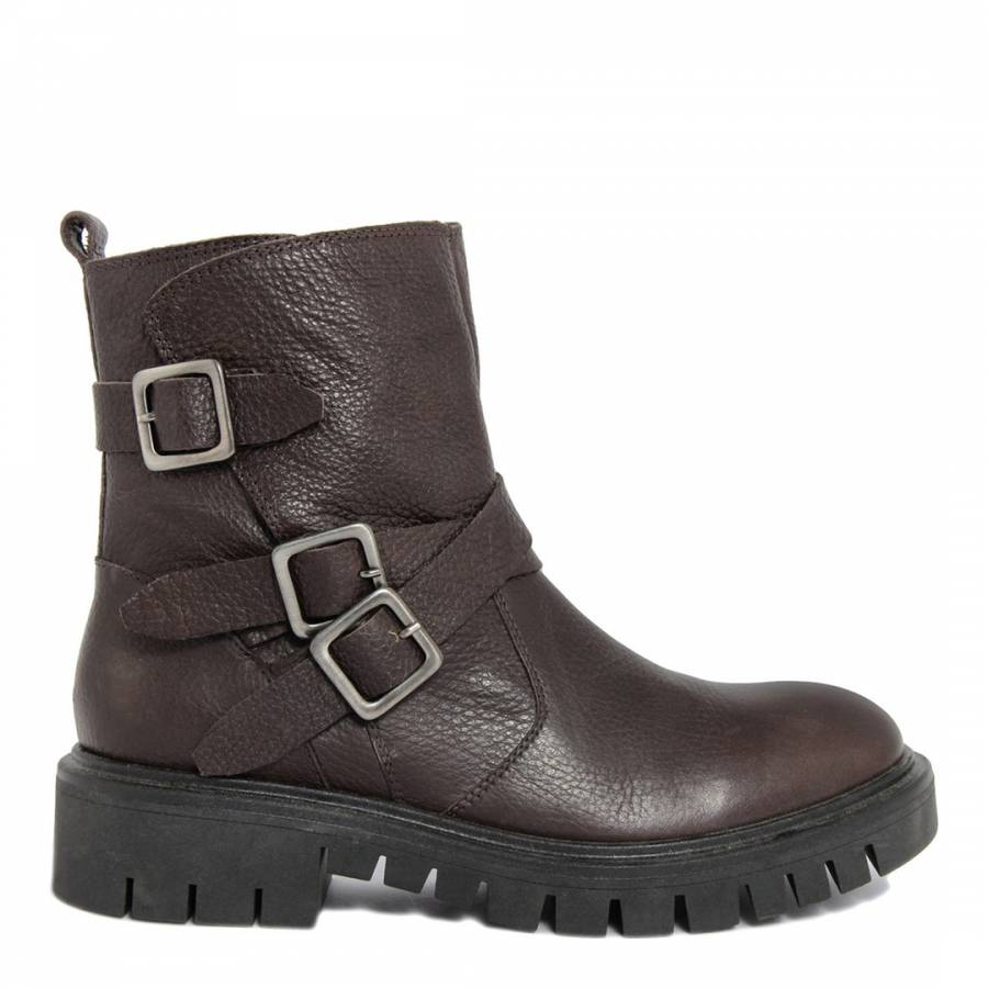9c5c8278932e Brown Leather Buckle Ankle Boots - BrandAlley