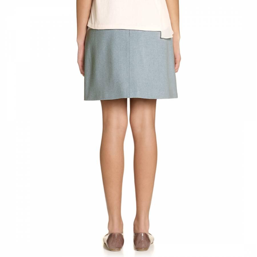 Jigsaw Light Weight Melton Skirt Womens New Blue