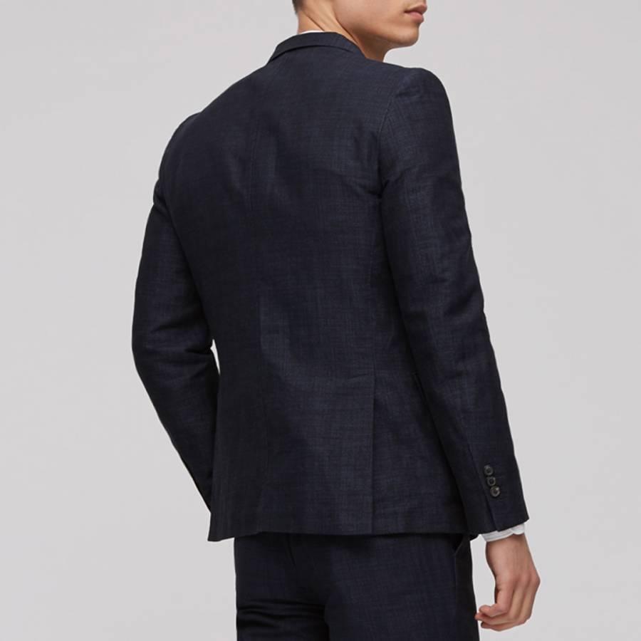 Mens Navy Linen Jacquard Cotton Linen Blend Tailored