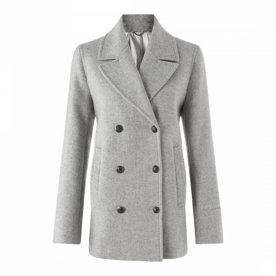 Grey pea coat women