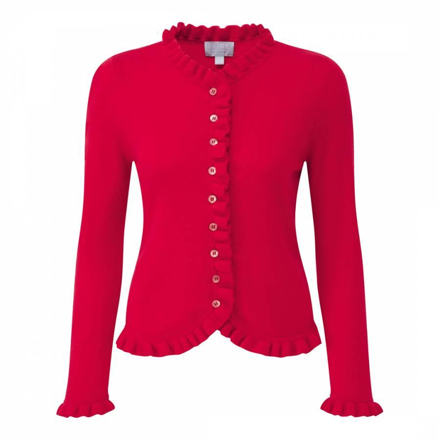 Pillarbox Red Cashmere Ruffle Edge Cardigan - BrandAlley