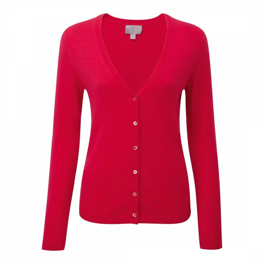 Pillarbox Red Cashmere V Neck Cardigan - BrandAlley