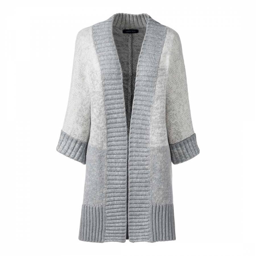Pale Grey Marl Ombre Dolman Sleeve Wool Blend Cardigan - BrandAlley
