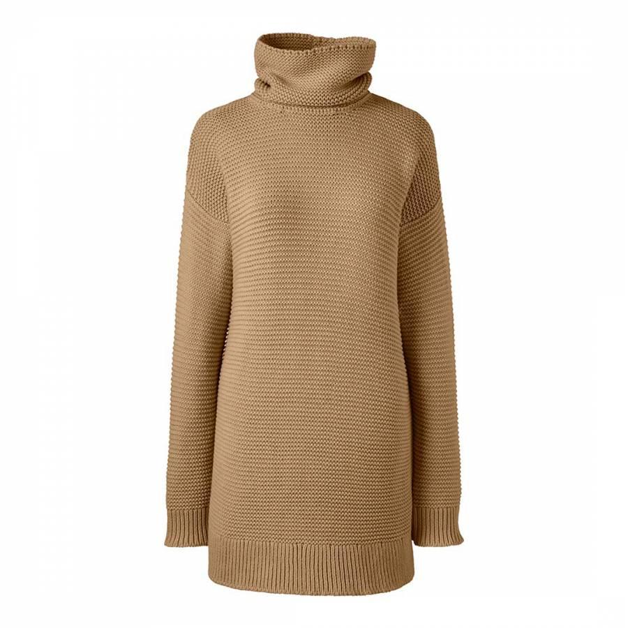 683ca51b5ba Camel Lofty Cotton Rollneck Tunic Jumper - BrandAlley