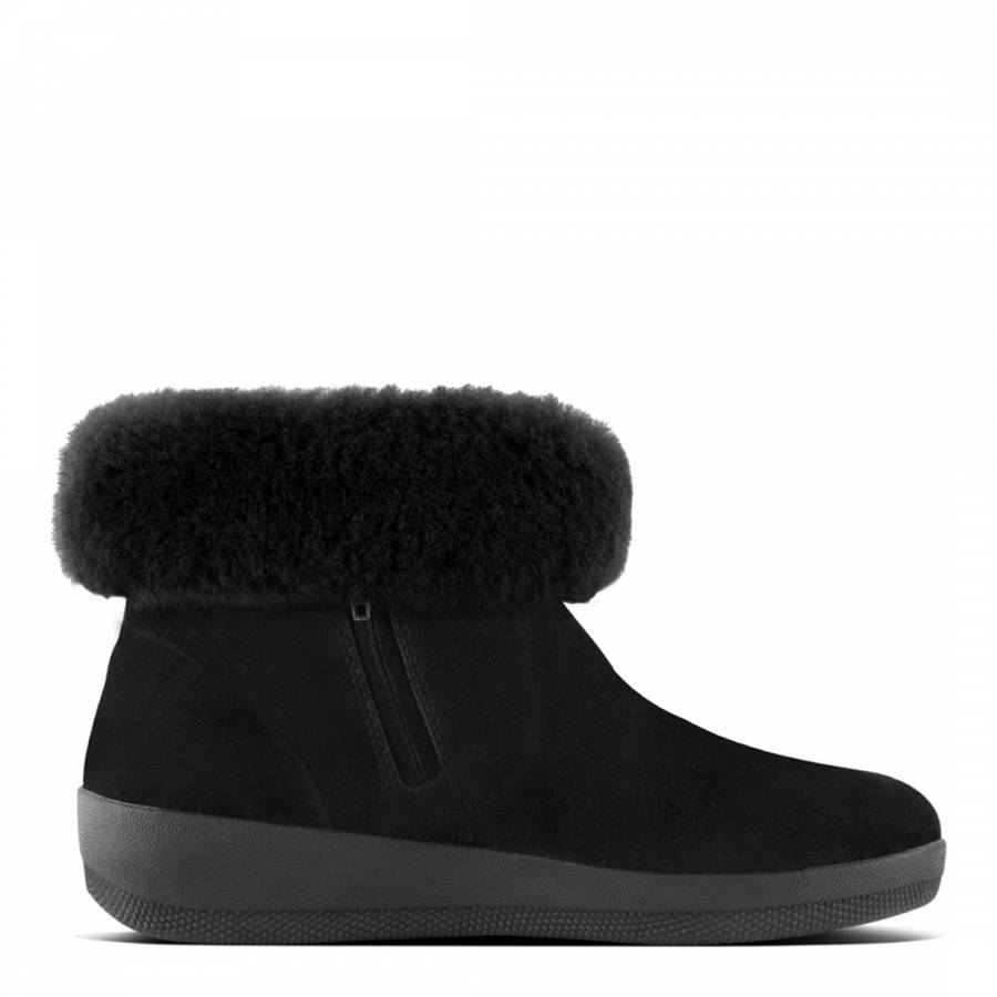 f6c4ffefc Black Leather Shearling Skatebootie - BrandAlley