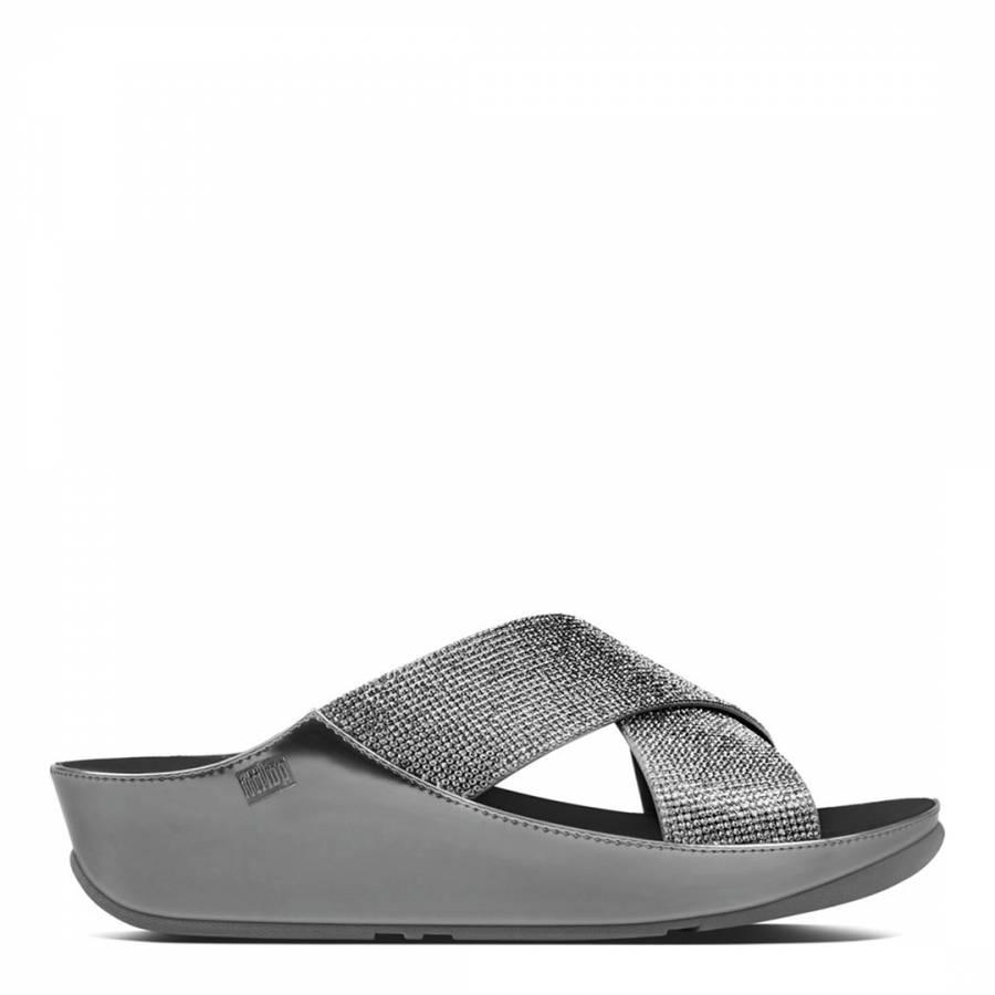 f9d34cd580d09b Pewter Crystall Slide Sandals - BrandAlley