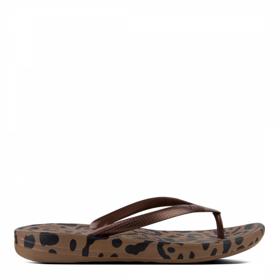 916d6e114b5654 Bronze Mix Leopard Print Iqushion Ergonomic Flip Flops - BrandAlley