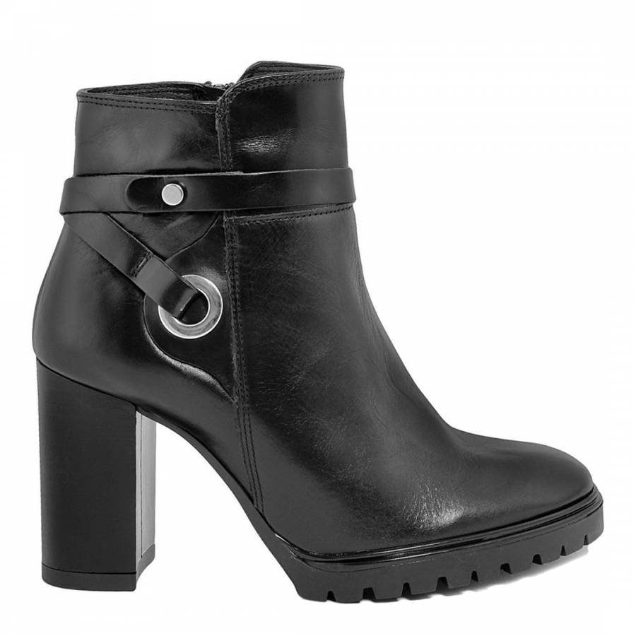 black leather high heel ankle boots brandalley