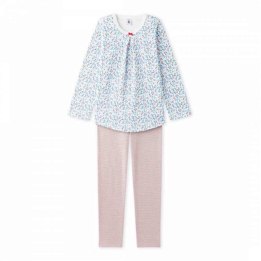 db0b6309578c Pastel Blue Red Floral Stripe Pyjama Set - BrandAlley