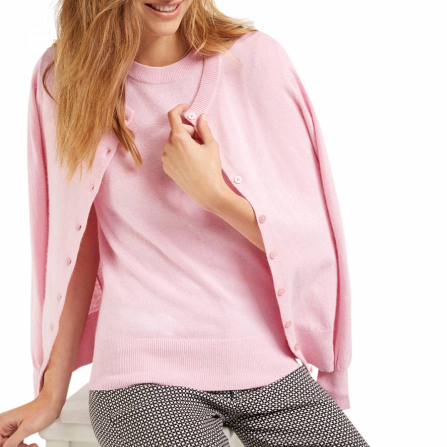 2b718ff676f Pink Classic Cashmere/Wool Blend Cardigan/T-Shirt Twin Set - BrandAlley