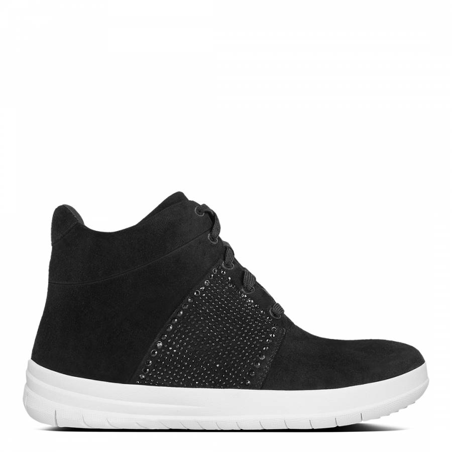 f158e2c123f14 Womens Black Suede Sporty Pop X Crystal High Top Sneakers - BrandAlley