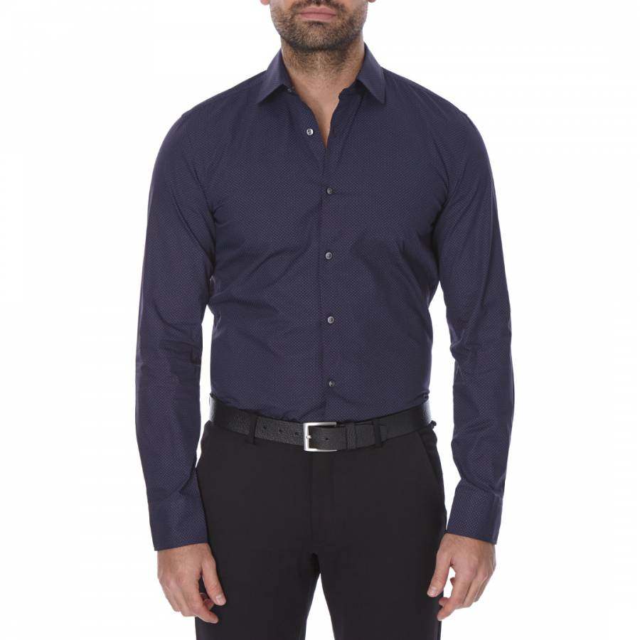 6c8676a04 Boss by Hugo Boss Navy/Blue Patterned Slim Fit Cotton Jenno Shirt