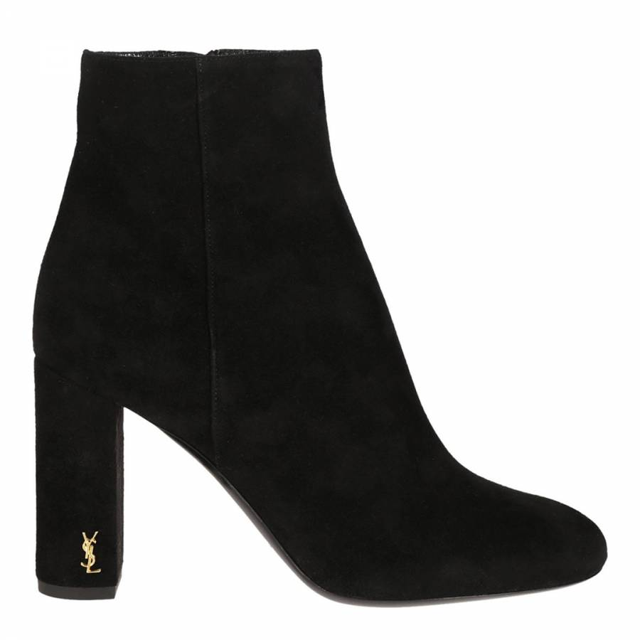 0a50d825bd Black Suede Ankle Boots With Gold YSL Logo - BrandAlley