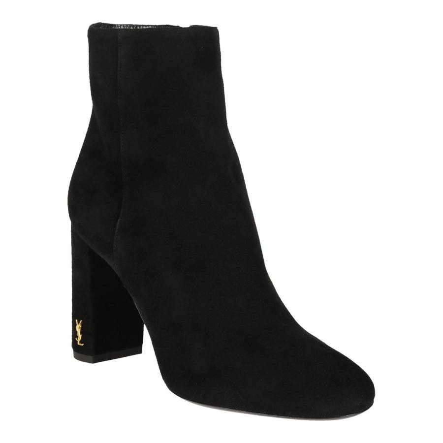 002f101767 Black Suede Ankle Boots With Gold YSL Logo - BrandAlley