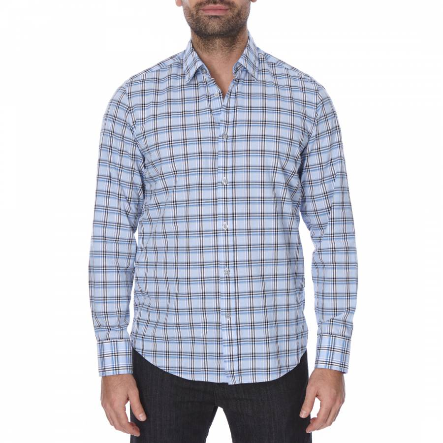 6c5f5288 Boss by Hugo Boss Light Blue/Black Check Regular Fit Cotton Lukas Shirt