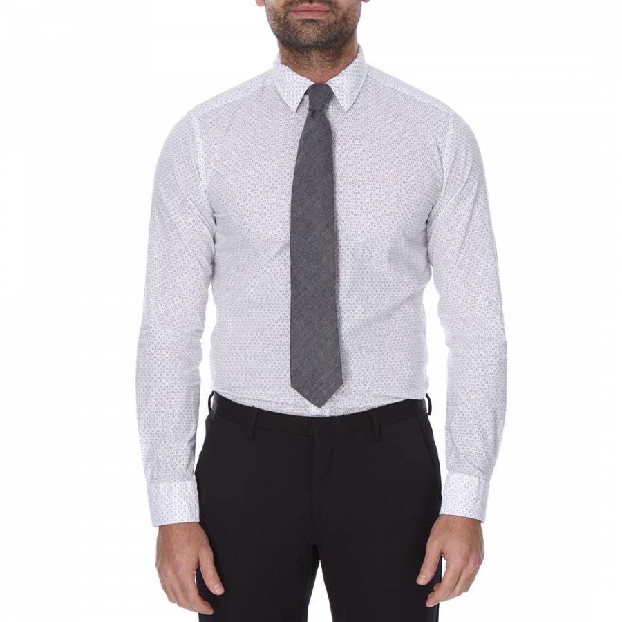 6982f7457a6 Boss by Hugo Boss White Grey Circular Pattern Slim Fit Cotton Ronni Shirt