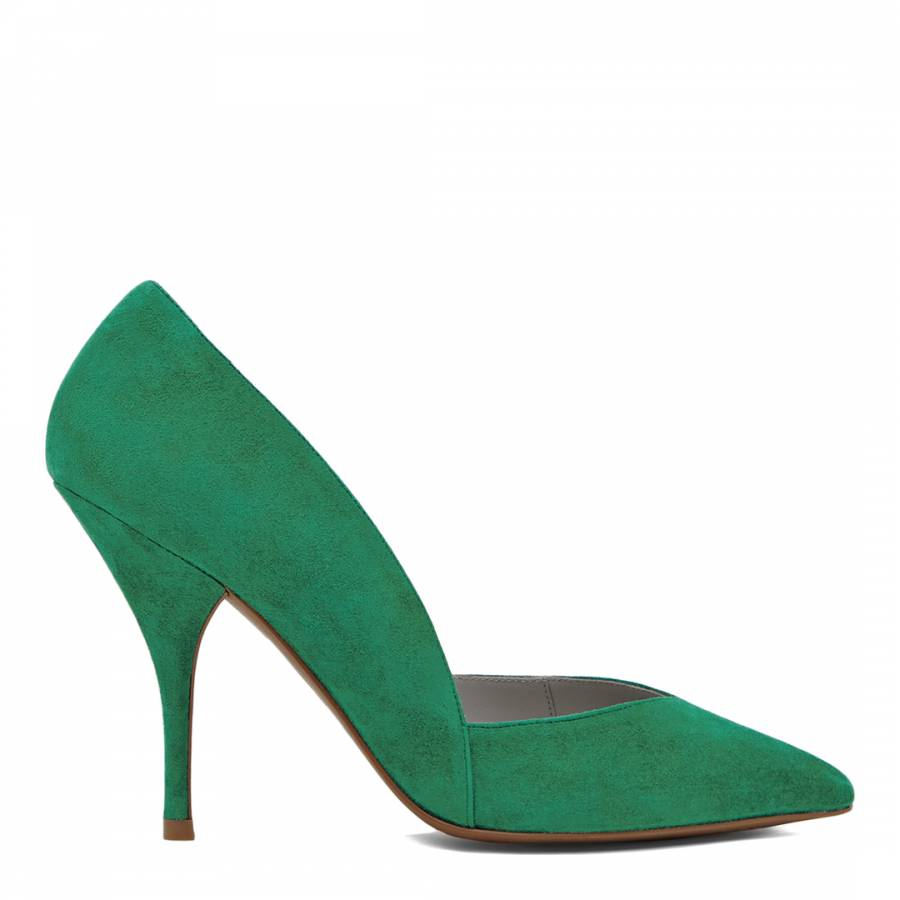 2fd17418217e24 Green Suede Arya Mid Heel Court Shoes - BrandAlley
