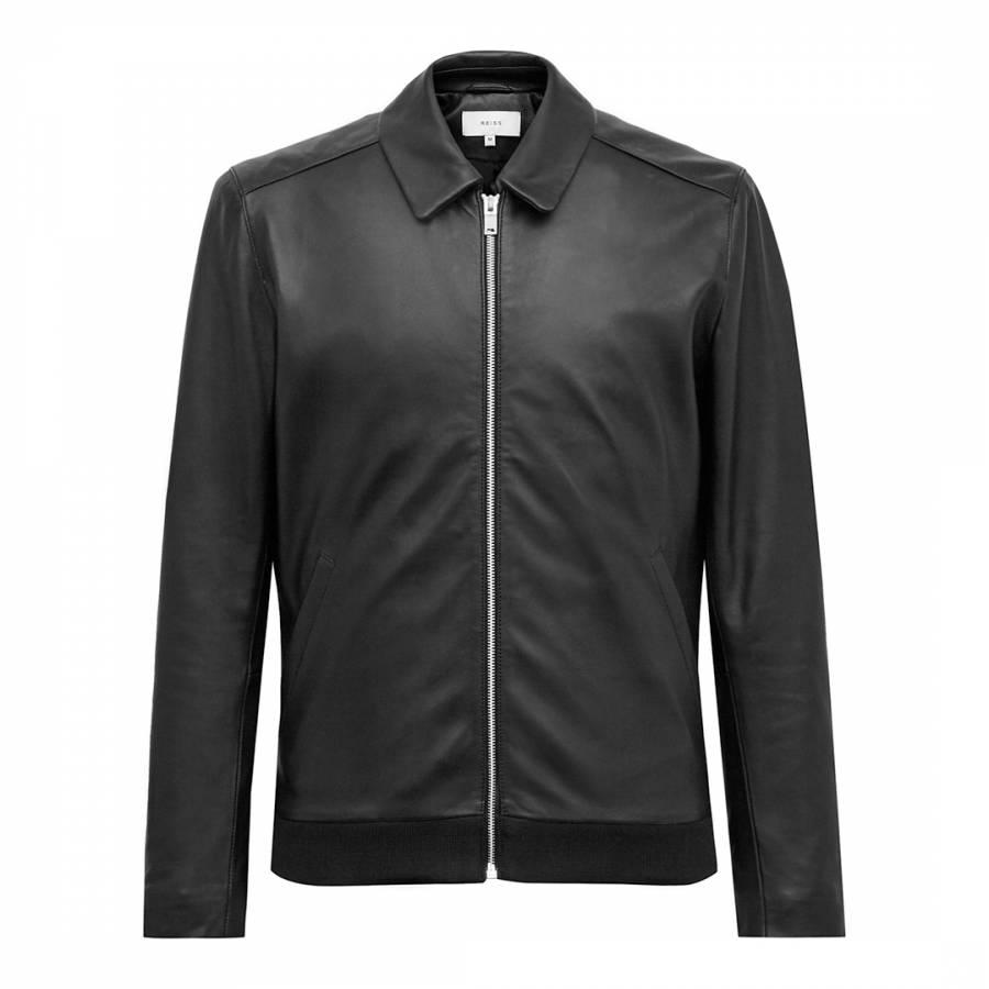 3ce6fc09a Black Nicholas Leather Bomber Jacket - BrandAlley