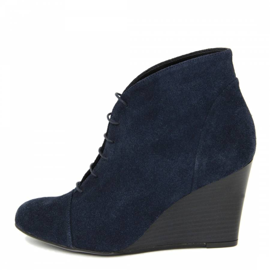 f92cb4139e6 Navy Suede Mousse Lace Up Wedge Ankle Boots - BrandAlley