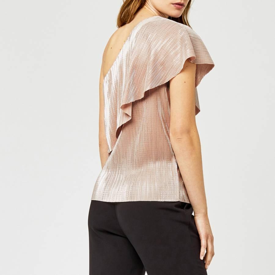 c3499c163714a Light Pink Foil Plisse One Shoulder Top - BrandAlley