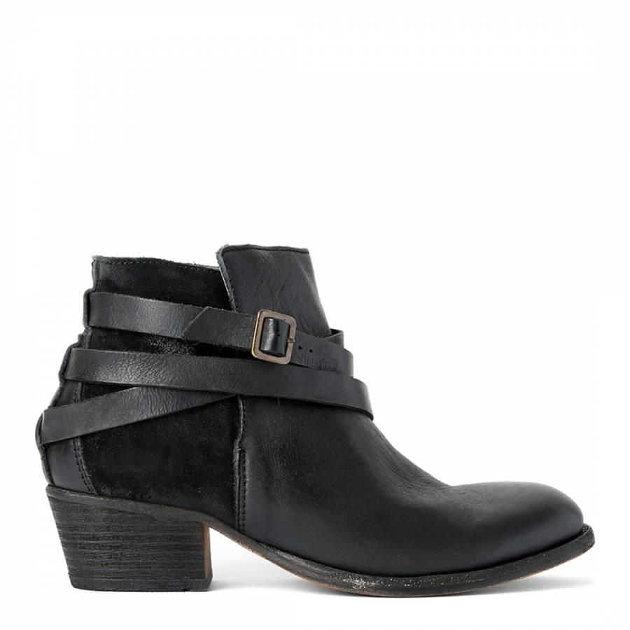 Hudson Black Leather/Suede Horrigan Jet Ankle Boots