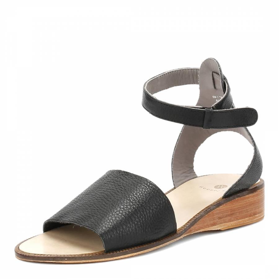 fbcf465fdfa Black Leather Fifa Ankle Strap Sandals - BrandAlley