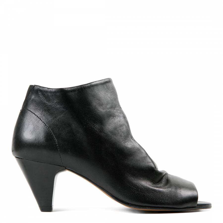 H by Hudson Black Leather Goa Peep Toe Ankle Boots