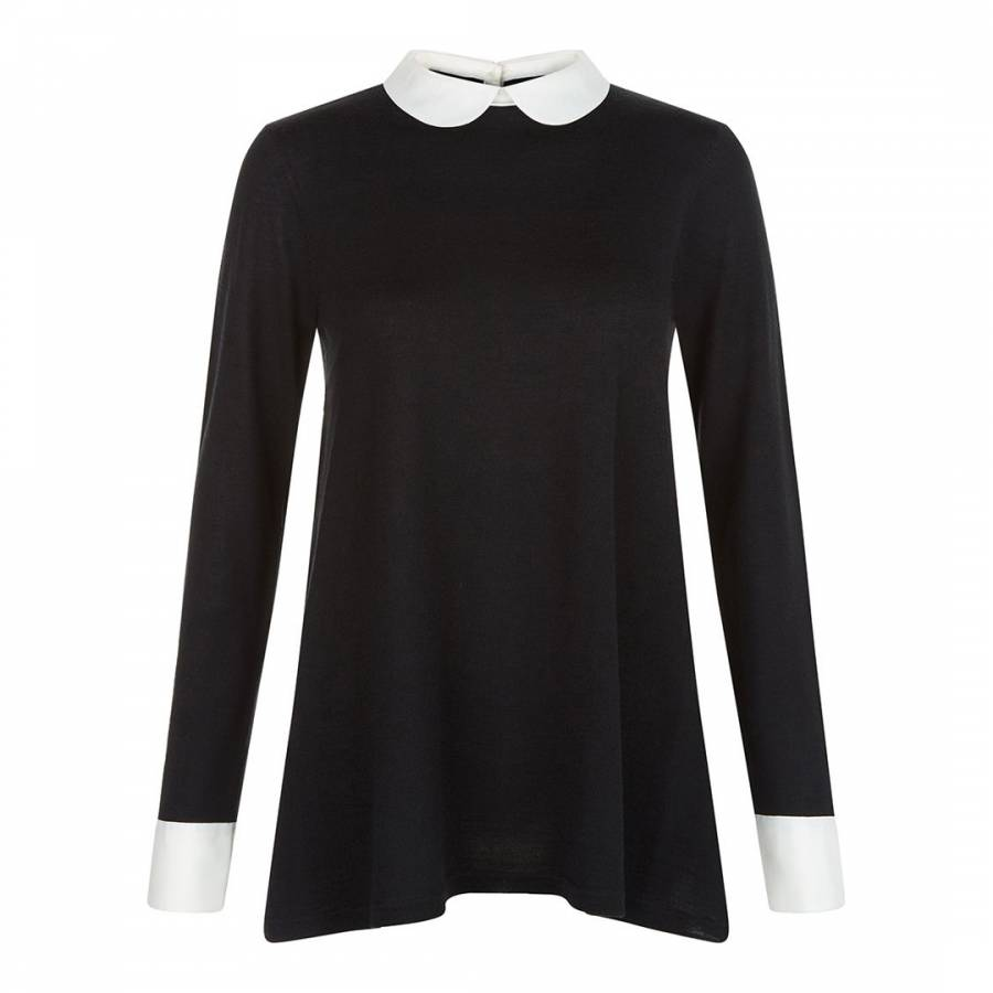 Black White Mock Collar Connie Jumper Brandalley
