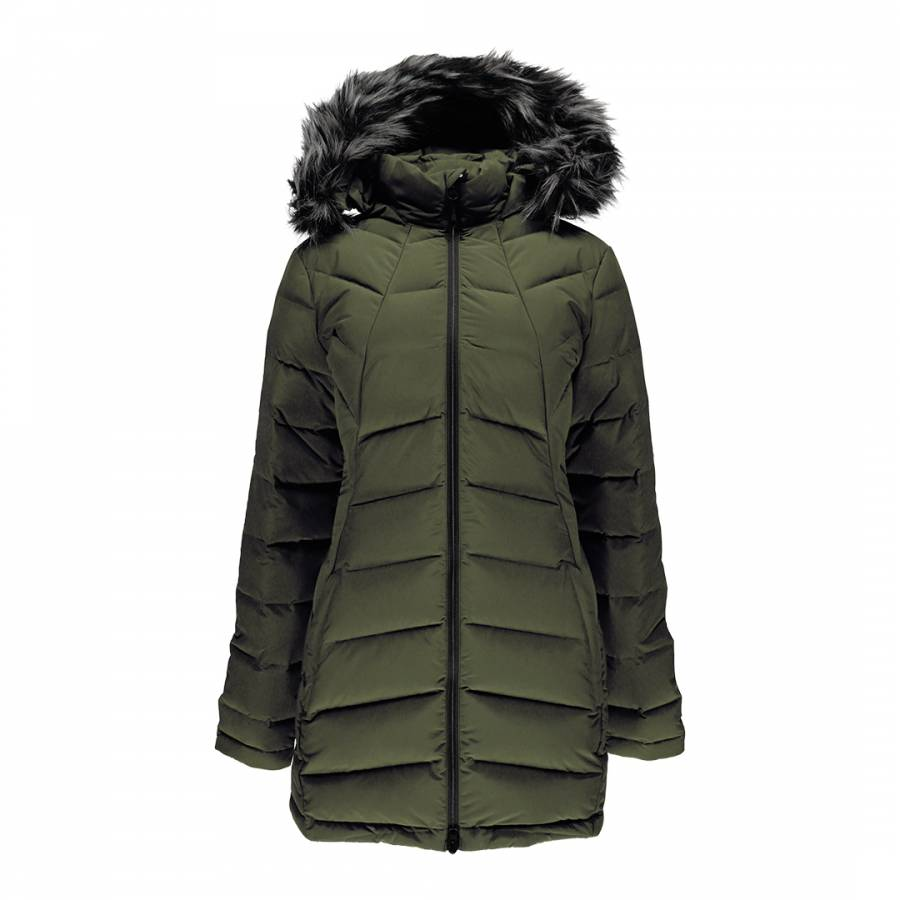 03c0ebb07146 Spyder Women s Khaki Syrround Long Faux Fur Down Coat. prev. next. Zoom