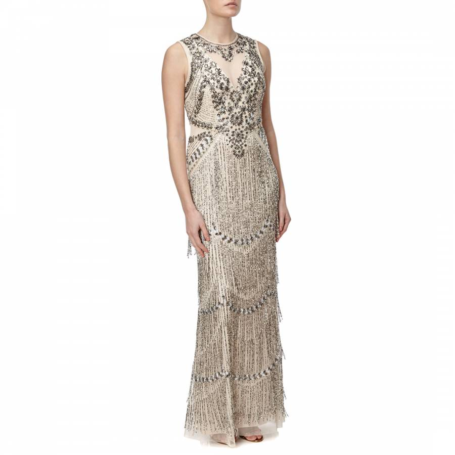 Champagne Aidan Mattox Sleeveless Beaded Tiered Fringe Gown - BrandAlley