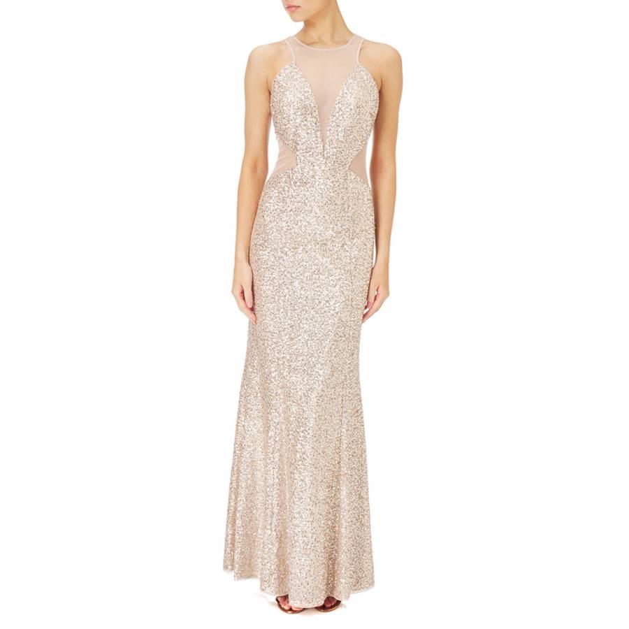 Champagne/Silver Sequin Halter Dress - BrandAlley