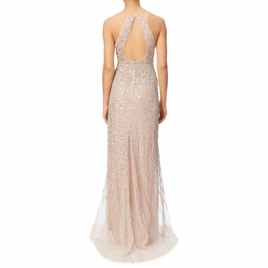 47dfe6b017b48 Shell Adrianna Papell Halter Keyhole Beaded Gown - BrandAlley