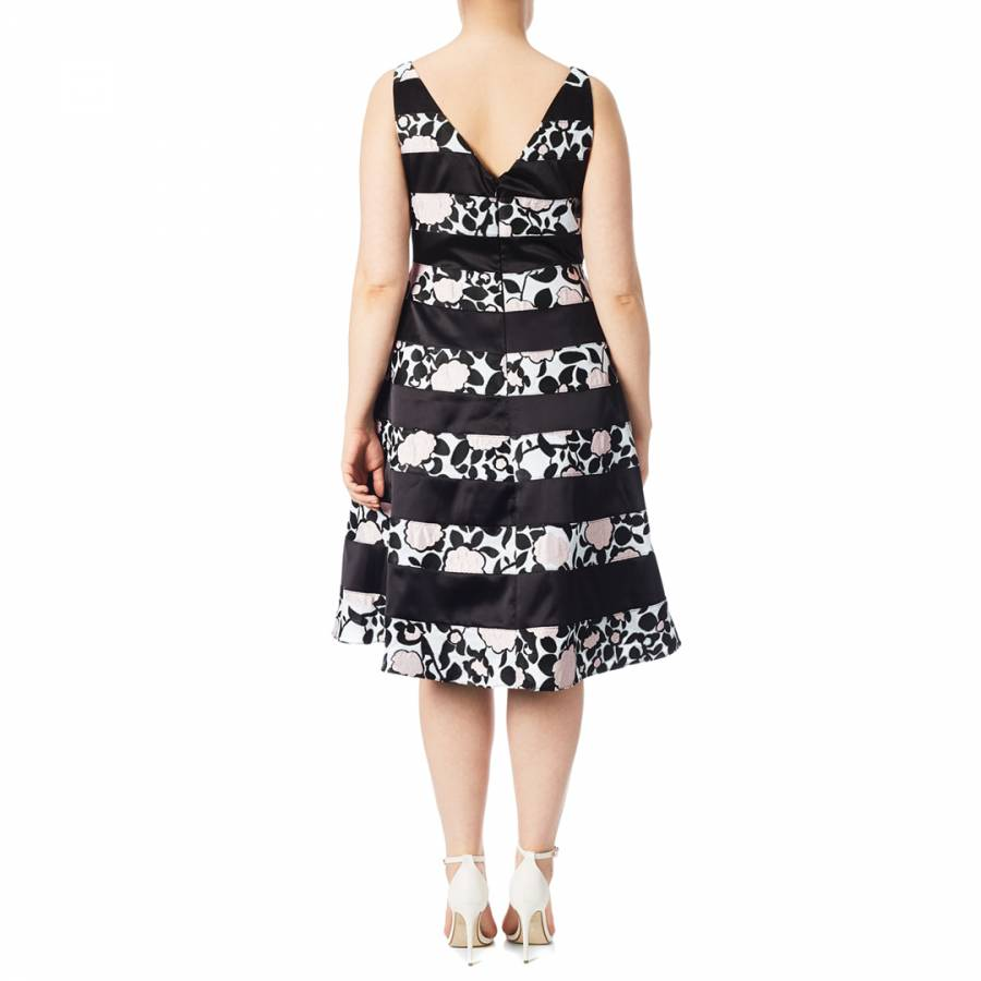 7cf3d31b3d6c Pink/Black Adrianna Papell Boat Neck Fit And Flare Dress - BrandAlley