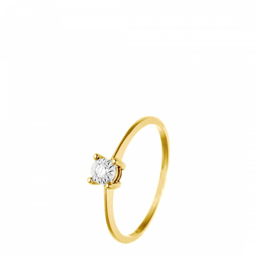 Image of Yellow Gold Solitaire Diamond Ring 0.035Cts