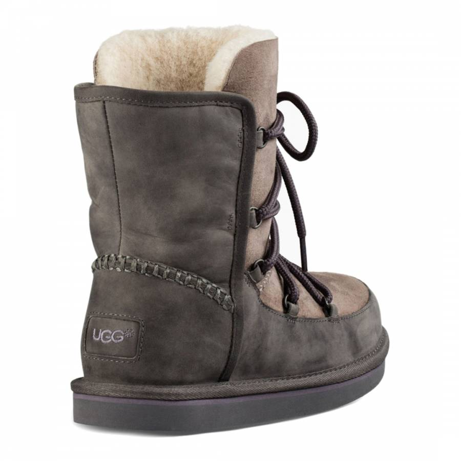 5fa6a42e0a1 Womens Grey Leather Lodge Boots - BrandAlley