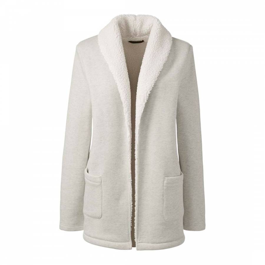 Pale Grey Heather Sherpa Lined Cotton Blend Cardigan Jacket ...