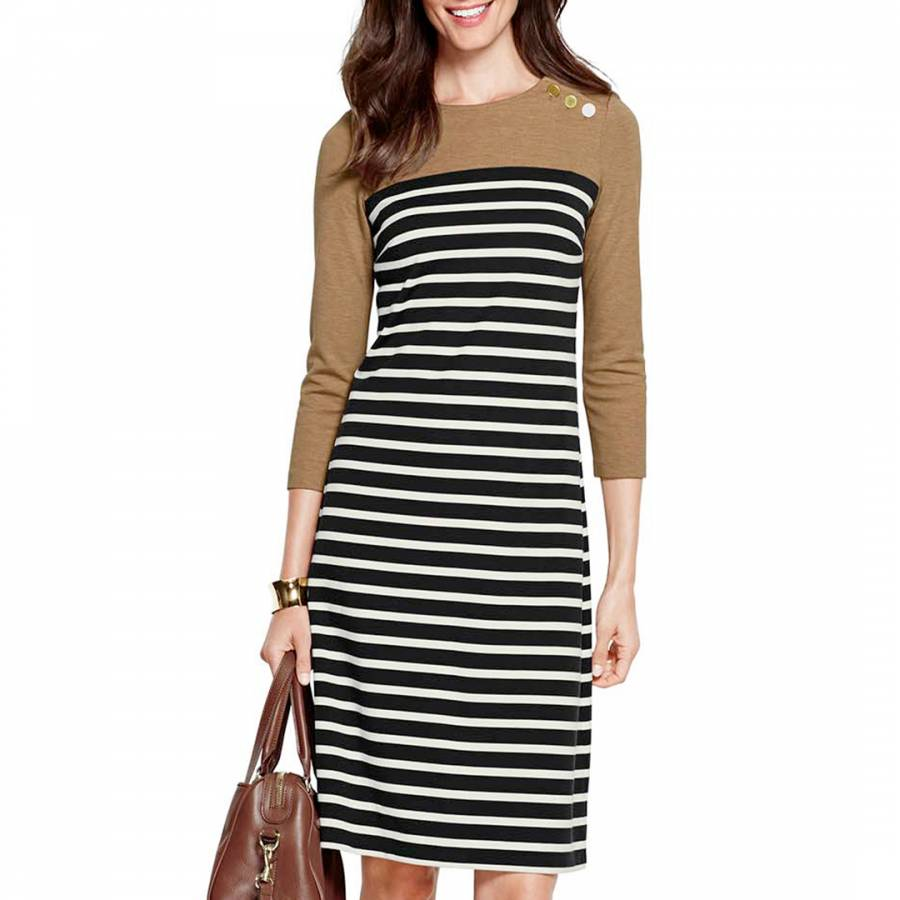 Womens Regular Engineered Stripe Ponte Jersey Darted Dress - 14-16 - BLUE Lands End pu2lAW9Cx