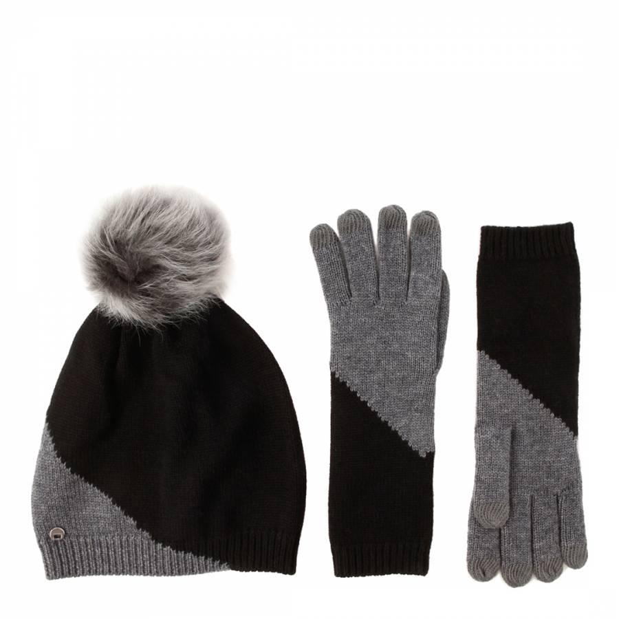 66de1db1284 Women s Black Grey Colourblock Smart Gloves   Beanie Hat Set ...