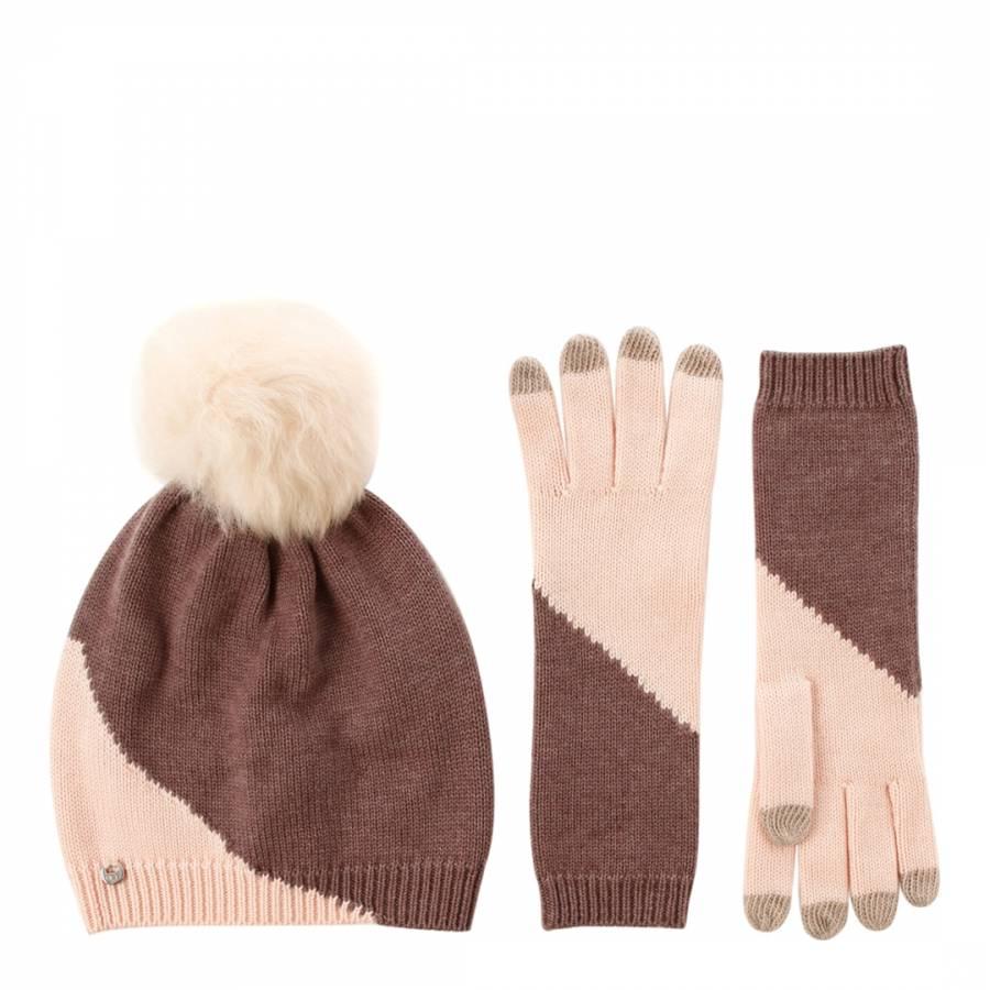 34501e2eca9 Zoom · UGG Women s Pale Pink Brown Colourblock Smart Gloves   Beanie Hat Set