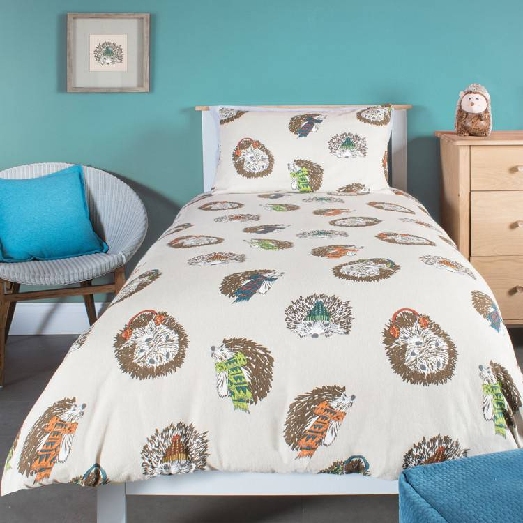 Hedgehog Brushed Cotton Single Duvet Set - BrandAlley