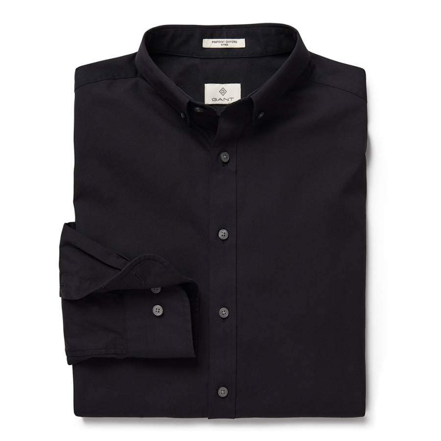 Black Cotton Pinpoint Oxford Slim Button Down Shirt