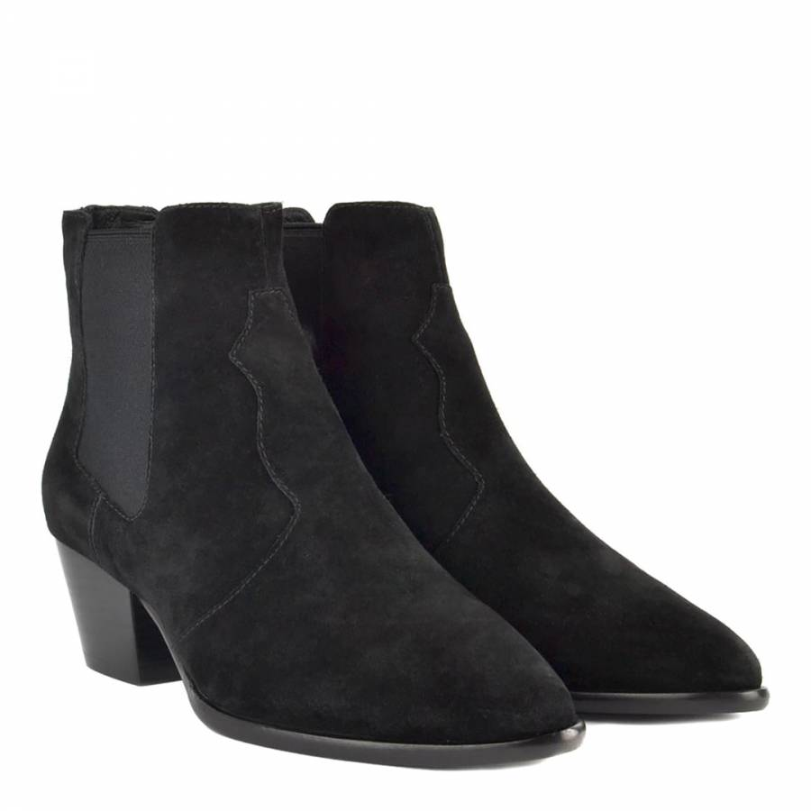 b2a26a4ceb Black Suede Holly Ankle Boots - BrandAlley