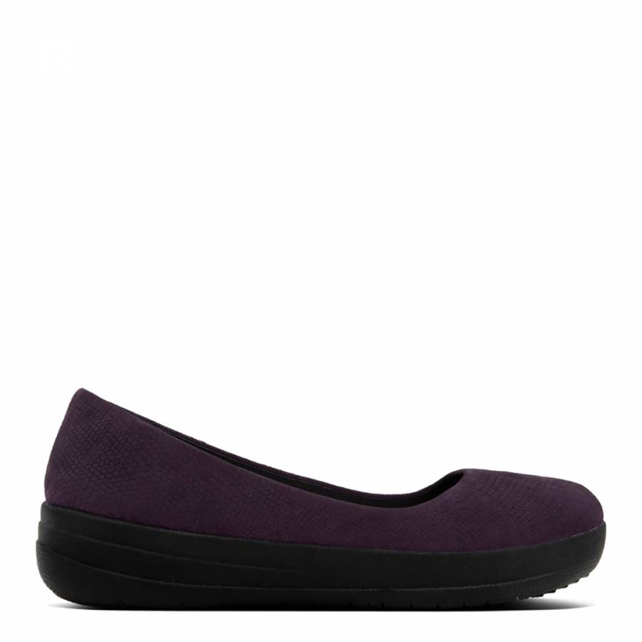 f7369fad8a5e61 FitFlop Deep Plum Snake Embossed Leather F-Sporty Ballerinas. prev. next.  Zoom