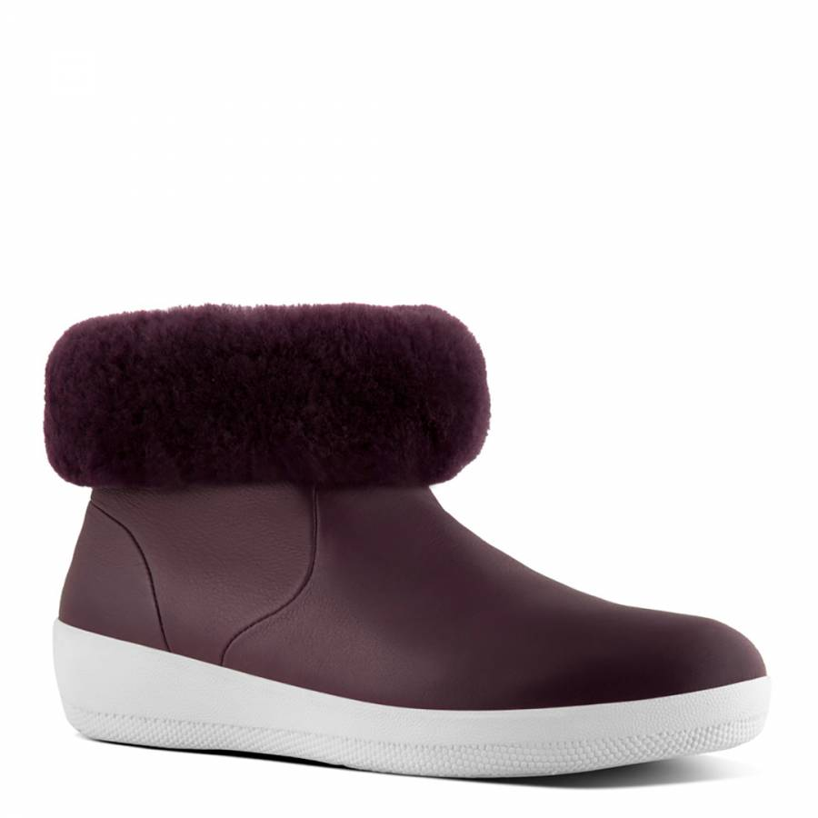 add85576e Deep Plum Leather Skatebootie With Shearling - BrandAlley