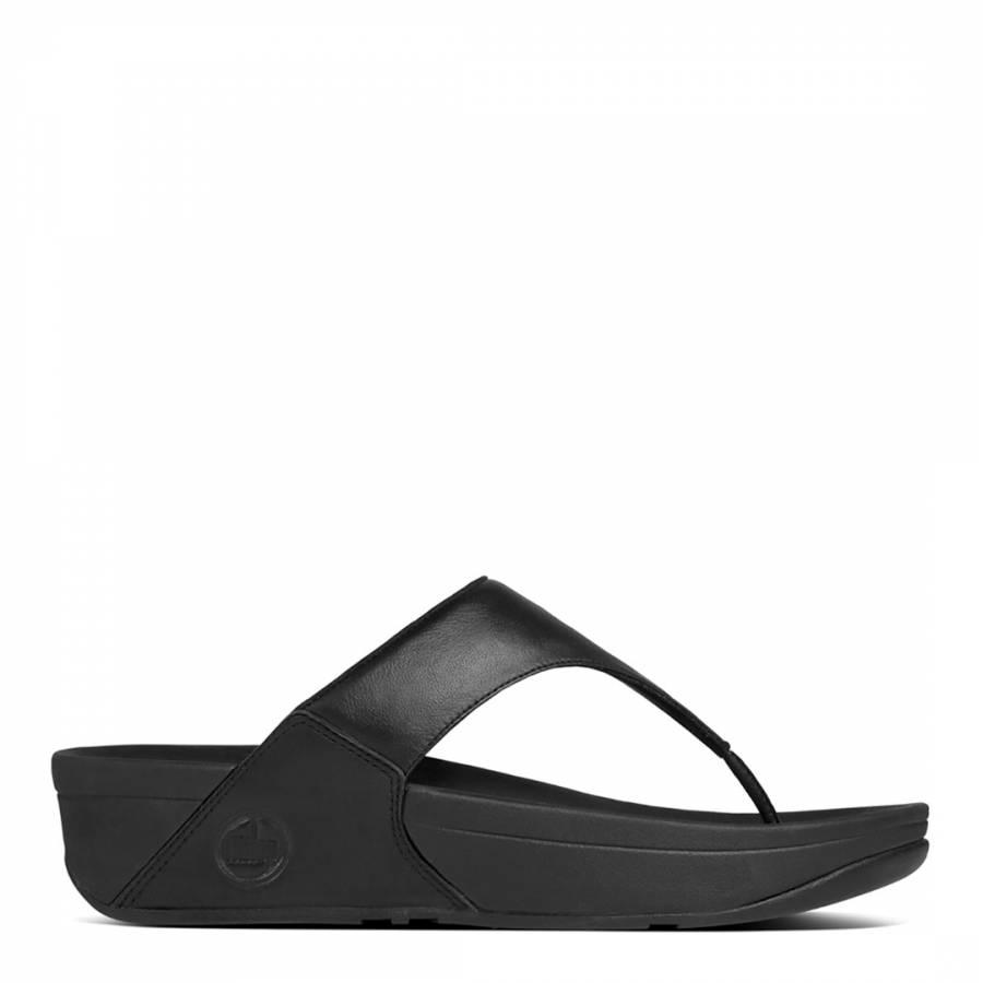 398acc7c7b05a Black Leather Lulu Toe Thong Sandals - BrandAlley