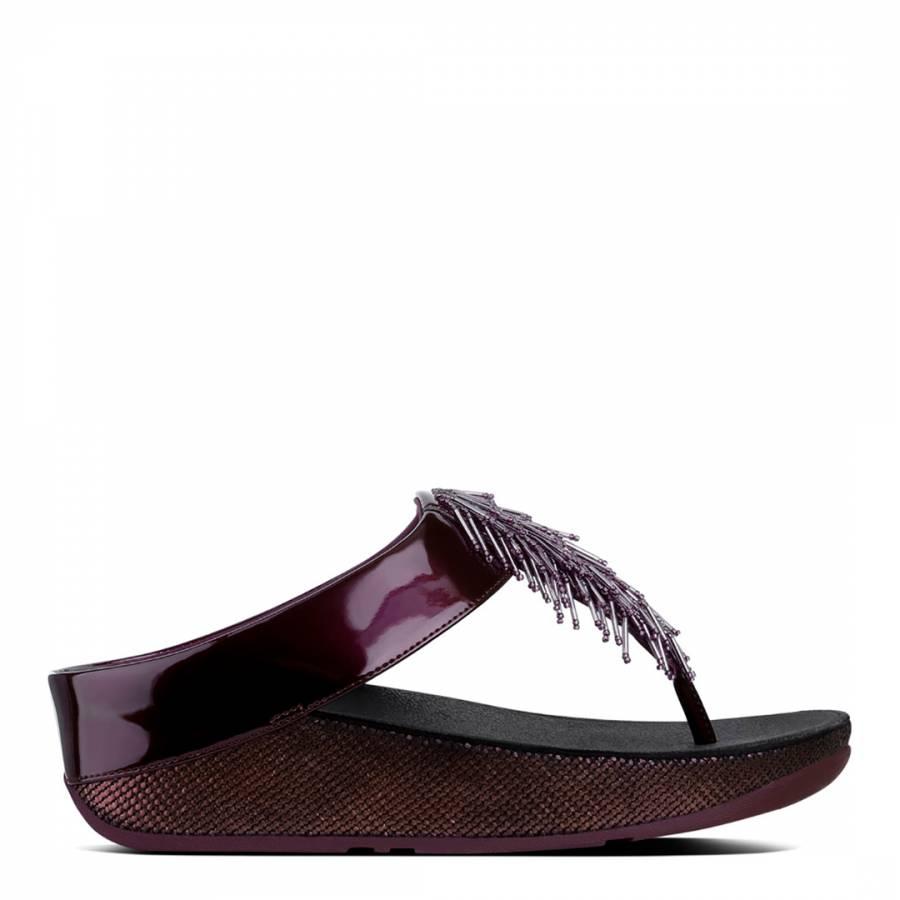 db83a2631d5b Deep Plum Leather Cha Cha Toe Thong Sandals - BrandAlley